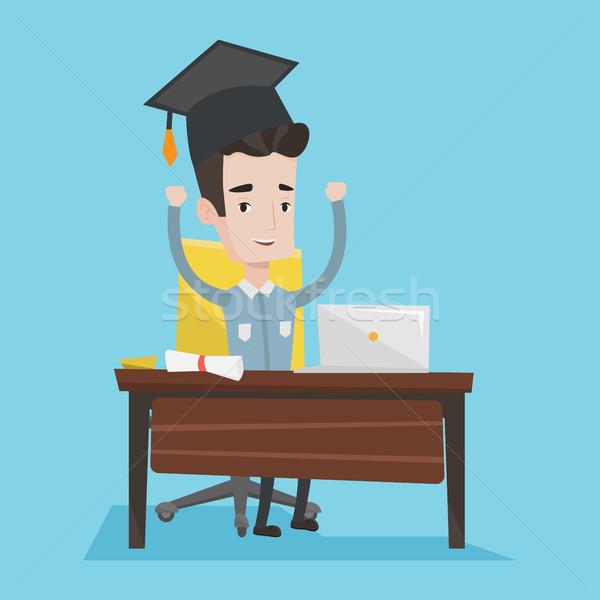 Estudiante usando la computadora portátil educación posgrado las manos en alto sesión Foto stock © RAStudio