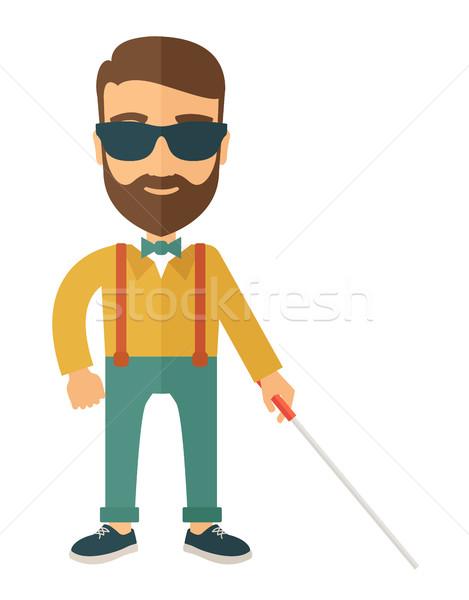 Blinde man lopen stick kaukasisch binnenkant Stockfoto © RAStudio