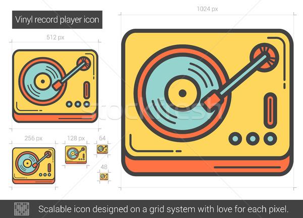 Vinyl record player line icon. Stock photo © RAStudio