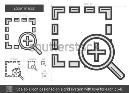 Zoom linha ícone vetor isolado branco Foto stock © RAStudio
