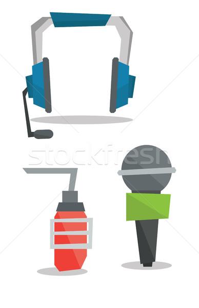 Headphones and microphones vector illustration. Stock photo © RAStudio