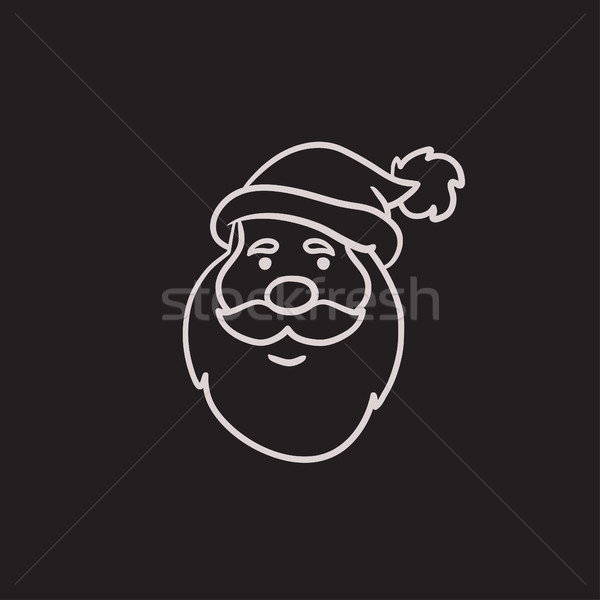 Stock photo: Santa Claus face sketch icon.