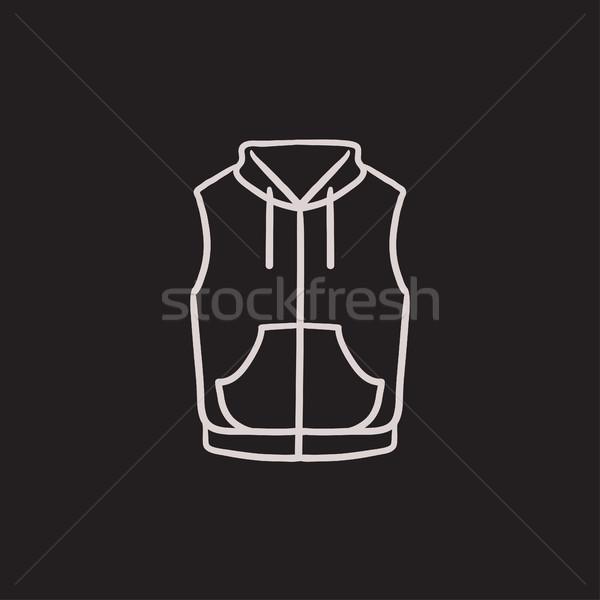 Chaleco abajo chaqueta boceto icono vector Foto stock © RAStudio