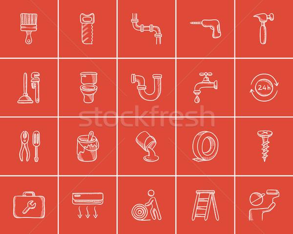 Budowy szkic internetowych komórkowych infografiki Zdjęcia stock © RAStudio