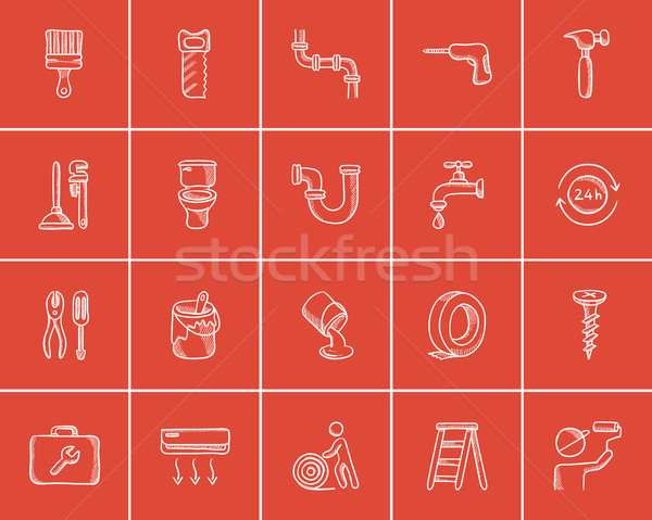 Construction sketch icon set. Stock photo © RAStudio