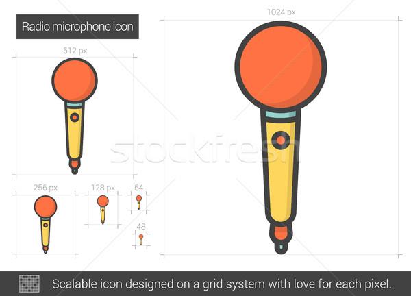Radyo mikrofon hat ikon vektör yalıtılmış Stok fotoğraf © RAStudio