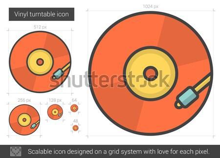 виниловых проигрыватель линия икона вектора изолированный Сток-фото © RAStudio