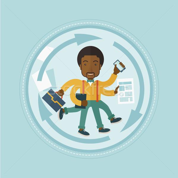 Man coping with multitasking vector illustration. Stock photo © RAStudio