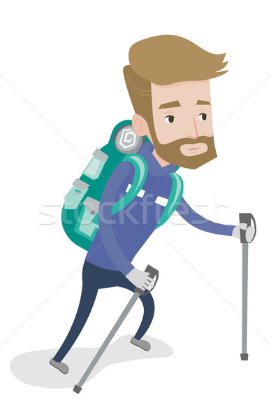 Young mountaneer climbing a snowy ridge. Stock photo © RAStudio