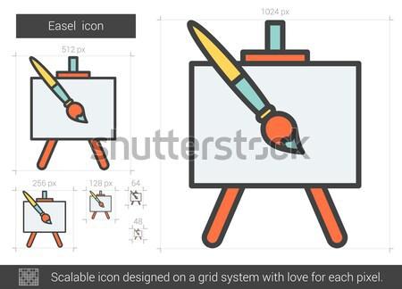 Festőállvány vonal ikon vektor izolált fehér Stock fotó © RAStudio