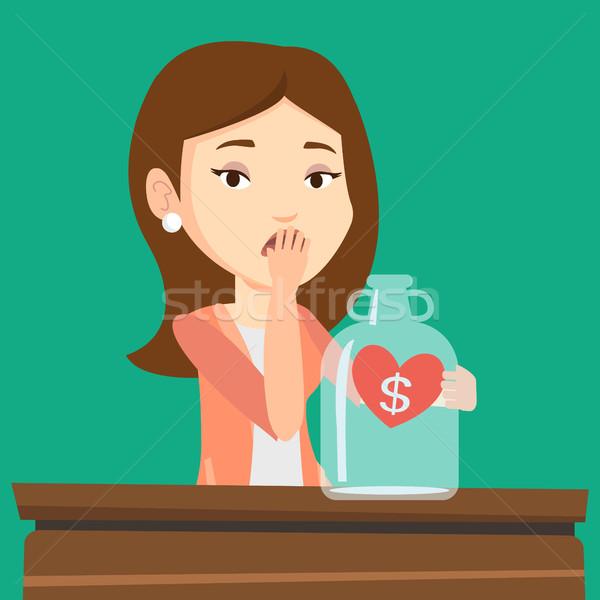 Femme regarder vide argent boîte Photo stock © RAStudio