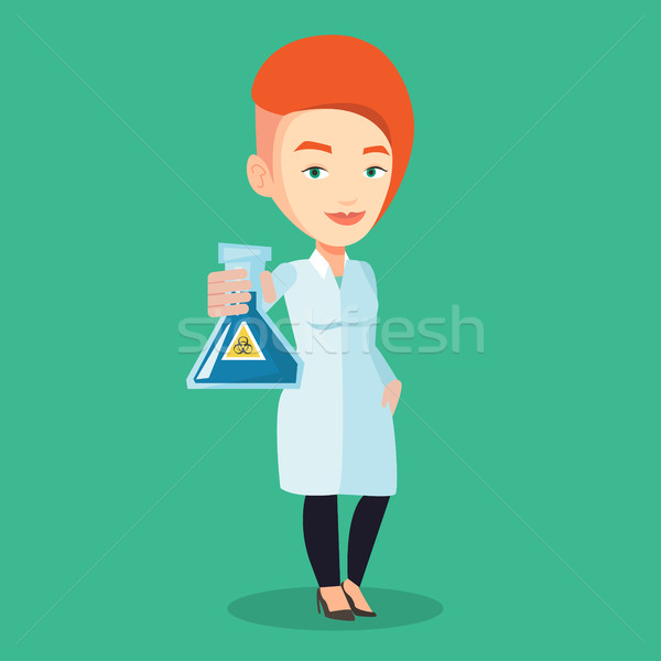 Scientist holding flask with biohazard sign. Stock photo © RAStudio