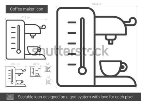 кофеварка линия икона вектора изолированный белый Сток-фото © RAStudio