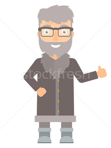 North man giving thumb up vector illustration. Stock photo © RAStudio