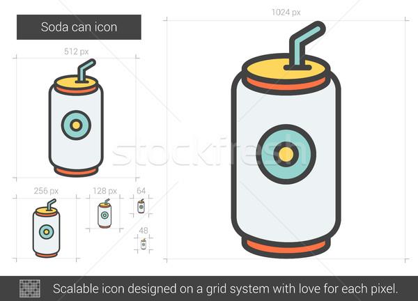 üdítős doboz vonal ikon vektor izolált fehér Stock fotó © RAStudio
