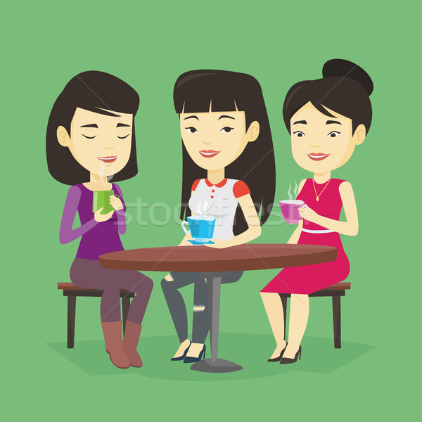 Csoport nők iszik forró italok fiatal Stock fotó © RAStudio