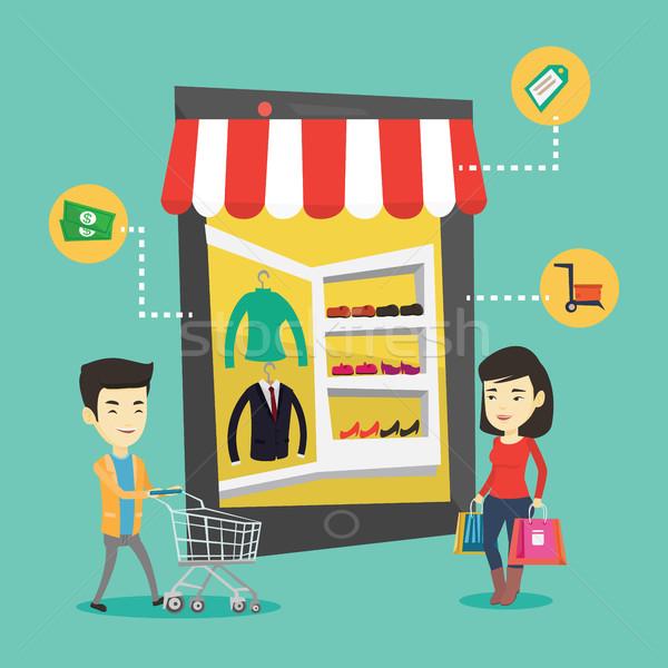 ストックフォト: アジア · 人 · ショッピング · を · 小さな · オンラインショッピング