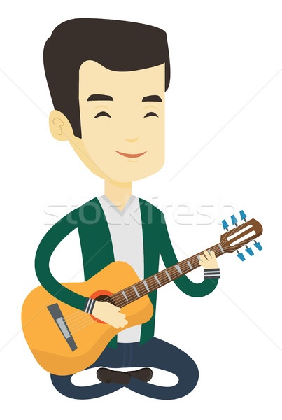 Férfi játszik akusztikus gitár ázsiai zenész barátságos Stock fotó © RAStudio