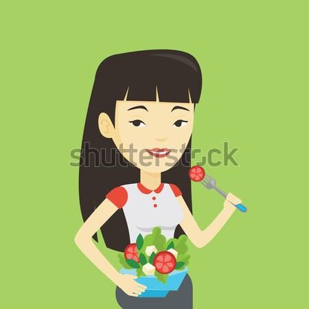Donna mangiare sano vegetali insalata asian Foto d'archivio © RAStudio