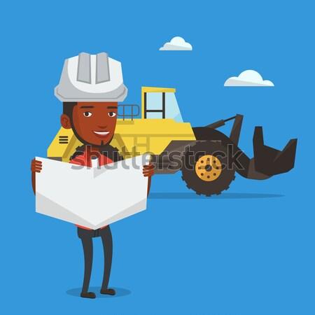 Stockfoto: Ingenieur · kijken · blauwdruk · helm · jonge · man