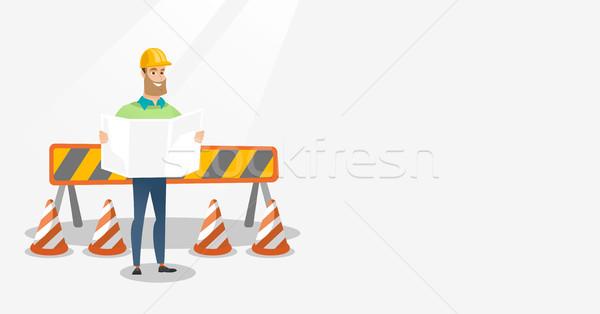 Stockfoto: Ingenieur · kijken · blauwdruk · bouwplaats · permanente · weg