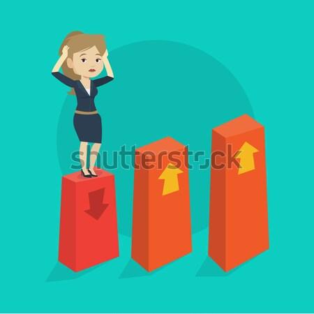 диаграммы вниз африканских испуганный деловой женщины Сток-фото © RAStudio
