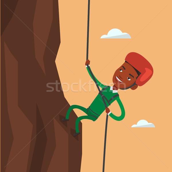 Stock fotó: Férfi · mászik · hegyek · kötél · tevékenység · kő