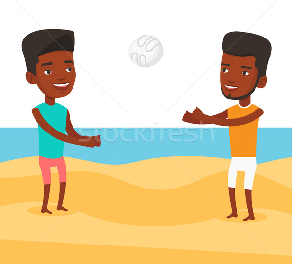 Dos hombres jugando playa voleibol hombre amigo Foto stock © RAStudio