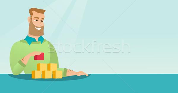 Man building his social network. Stock photo © RAStudio