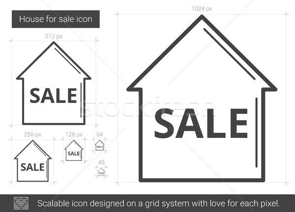 Casa venda linha ícone vetor isolado Foto stock © RAStudio
