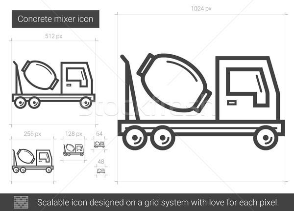 Beton mixer lijn icon vector geïsoleerd Stockfoto © RAStudio
