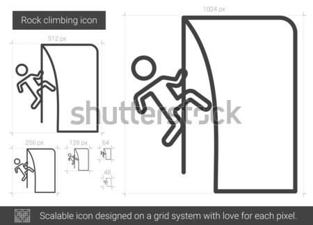 Rotsklimmen lijn icon vector geïsoleerd witte Stockfoto © RAStudio