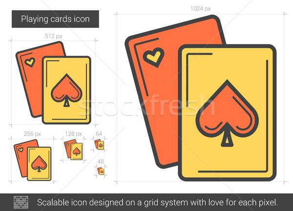 Speelkaarten lijn icon vector geïsoleerd witte Stockfoto © RAStudio