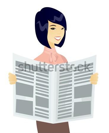 Young caucasian groom reading newspaper. Stock photo © RAStudio