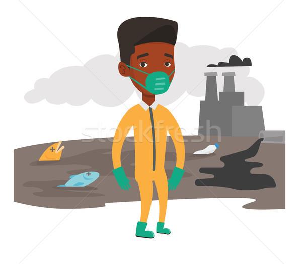 男 放射線 スーツ 防毒マスク 立って 核 ストックフォト © RAStudio