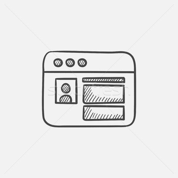 Browser window with social network internet page sketch icon. Stock photo © RAStudio
