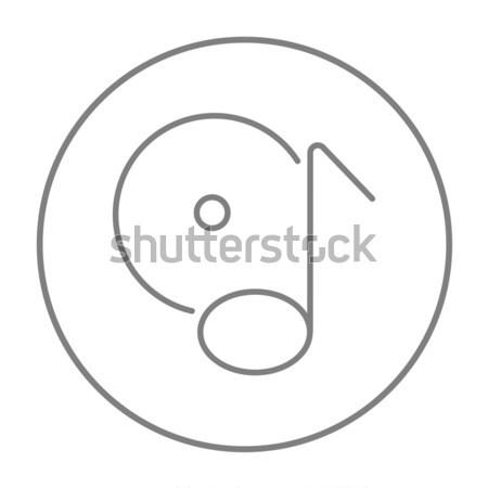 Nota schijf schets icon vector geïsoleerd Stockfoto © RAStudio
