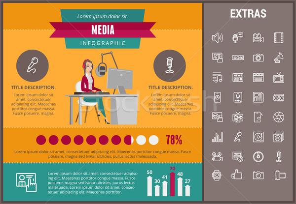 СМИ шаблон Элементы иконки настраиваемый Сток-фото © RAStudio