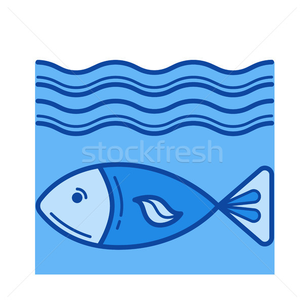 Stock photo: Fish line icon.