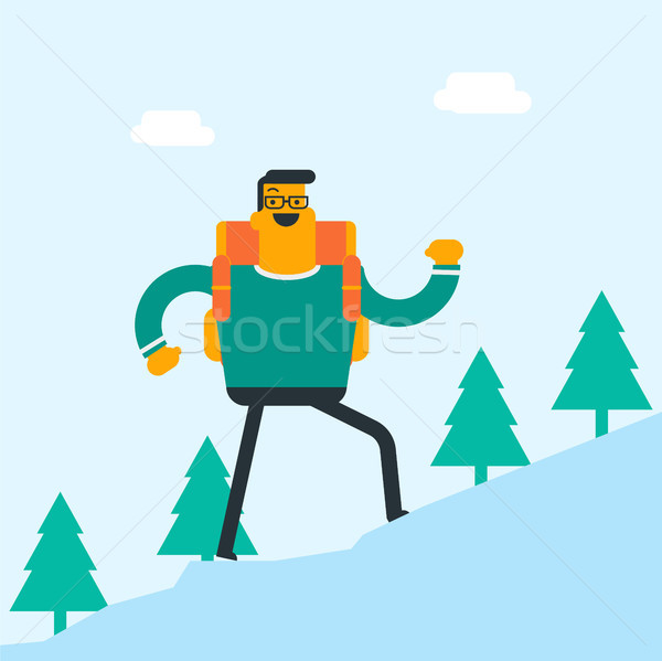 Young caucasian white man with a backpack hiking. Stock photo © RAStudio