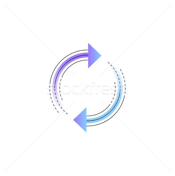 Neon rotáció nyíl vektor vonal ikon Stock fotó © RAStudio