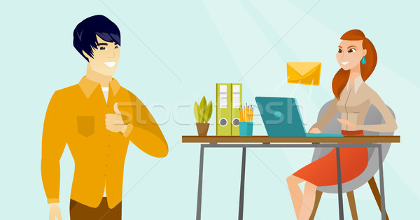Young business woman receiving or sending email. Stock photo © RAStudio