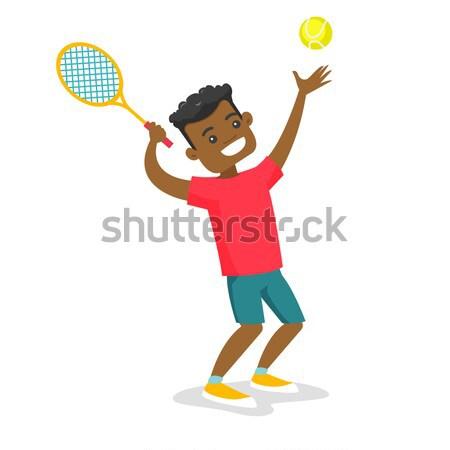 Afrikaanse tennisspeler racket bal weinig Stockfoto © RAStudio