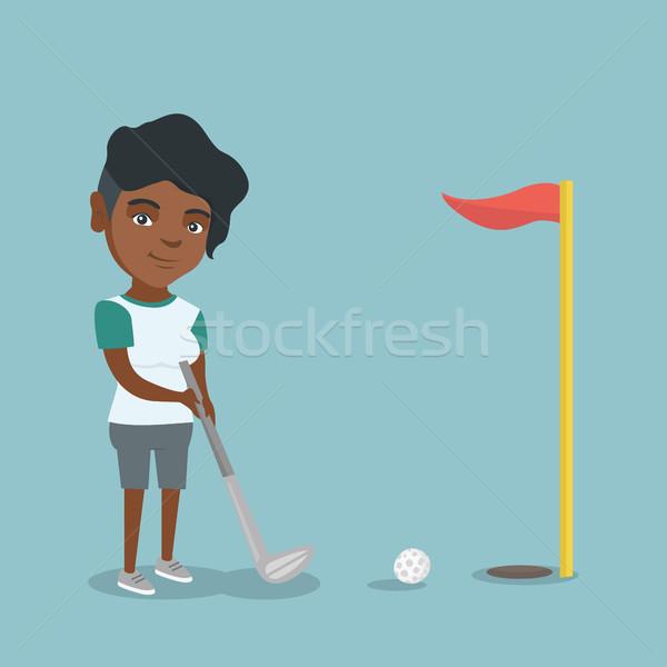 Jóvenes golfista pelota golf agujero Foto stock © RAStudio