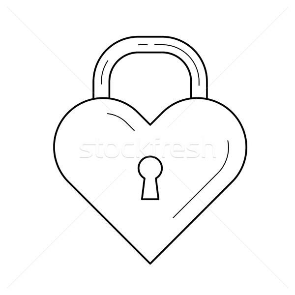 Heart lock vector line icon. Stock photo © RAStudio