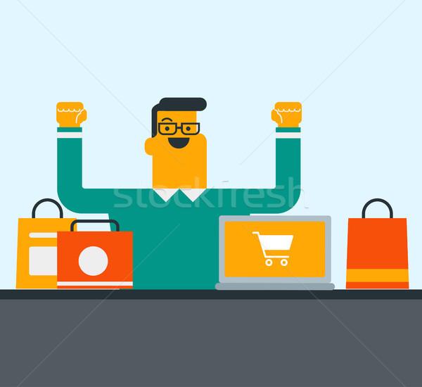 Caucasian man using laptop for online shopping. Stock photo © RAStudio