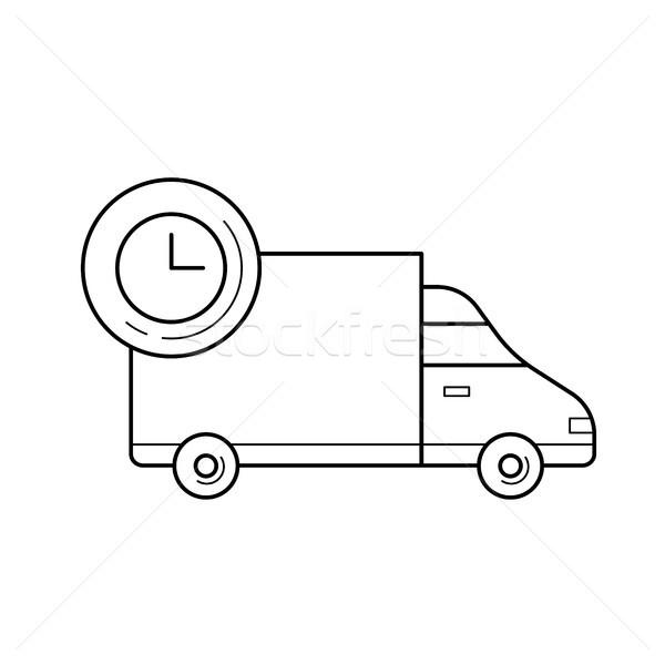 Camion de livraison ligne icône vecteur isolé blanche Photo stock © RAStudio