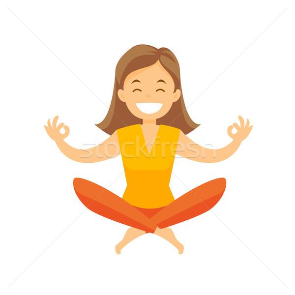 Caucasian white woman meditating in lotus pose. Stock photo © RAStudio