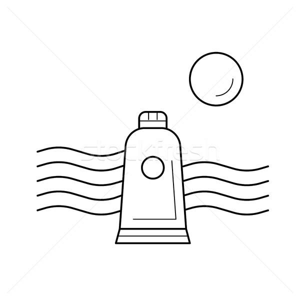 Stock photo: Tidal energy vector line icon.