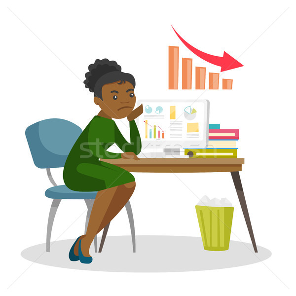 Woman worried about business graph going down. Stock photo © RAStudio